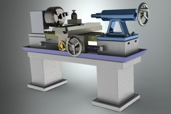 Lathe Machine Step Iges Other 3d Cad Model Grabcad