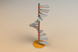 Spiral Staircase, sheetmetal with helical handrail