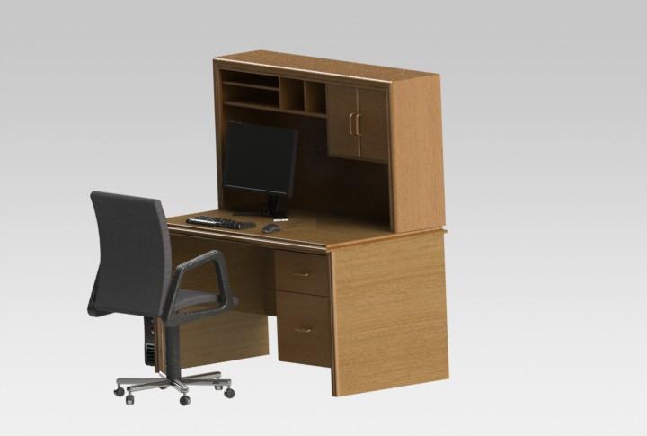 my 20 year old sauder prefab computer desk 3d cad model library