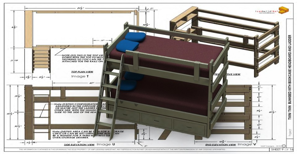 Bunk bed twin twin 20 060 3d cad model library grabcad for Bed elevation blocks