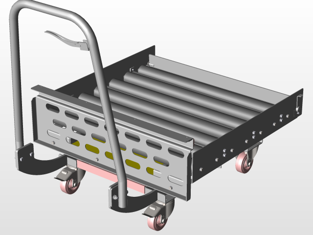 Trolley with liftable roller table (scissor lift mechanism missing