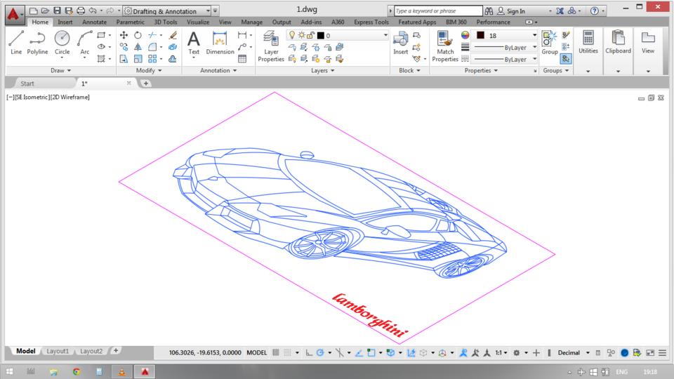 Lamborghini Car 2d Autocad 3d Cad Model Library Grabcad