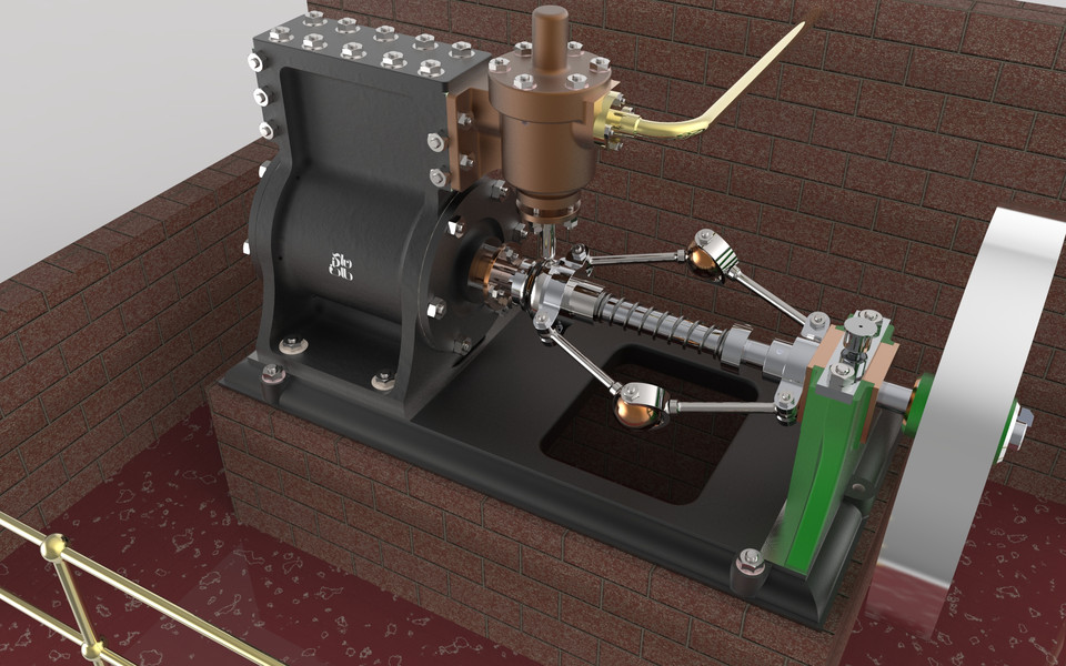Rotary steam engine solidworks step iges solidworks for Chicago fine motors mccook il