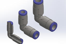 Elbow air connector pneumatic _configurations Ø4-6 & 8 mm