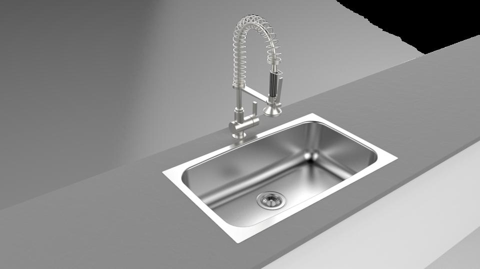 Sink Tap Modell : Kitchen sink render d cad model library grabcad