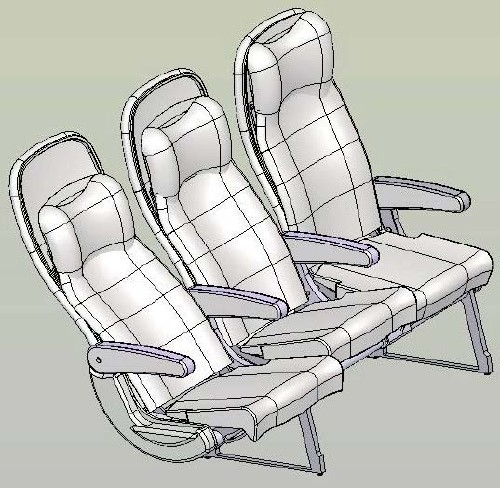 Aircraft Seat Bussines | 3D CAD Model Library | GrabCAD
