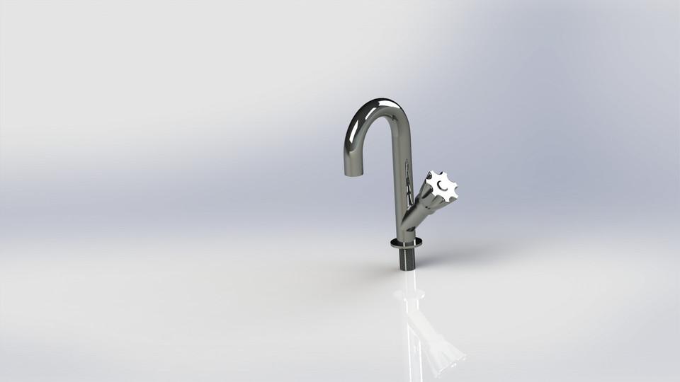 Sink Tap Modell : Kichen sink tap d cad model library grabcad