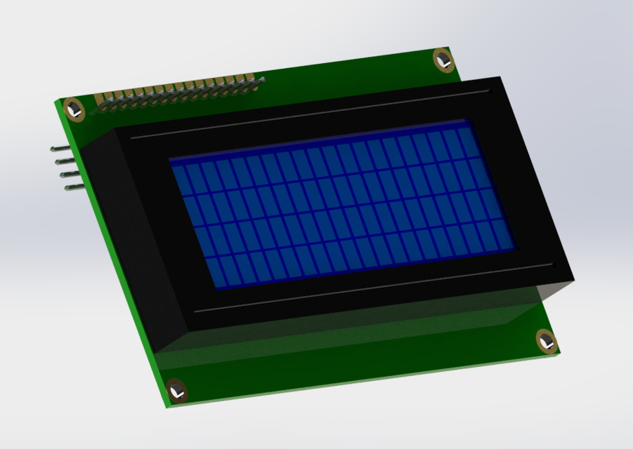 LCD Display 20x4 with I2C PCF8574 Board Module | 3D CAD Model
