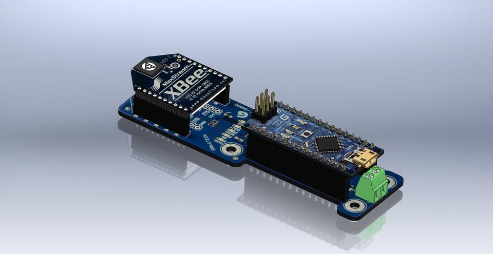 XBee Arduino Nano Combo Board | 3D CAD Model Library | GrabCAD
