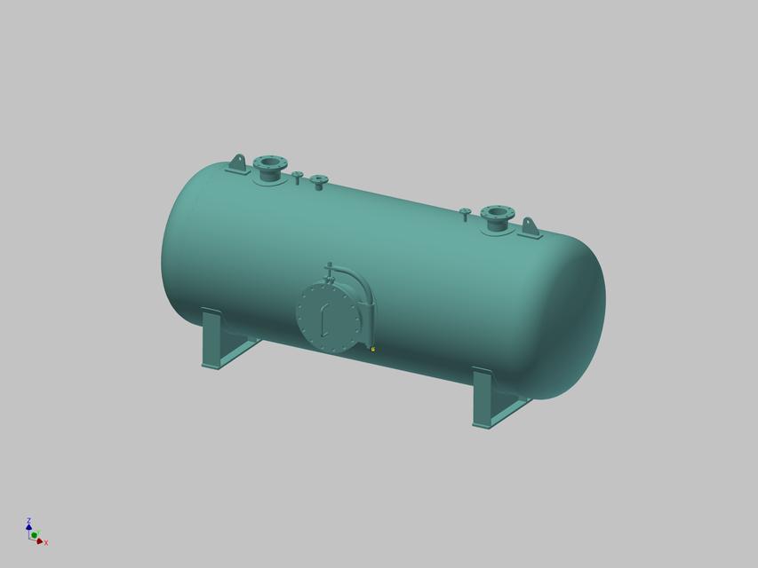 Pressure vessel 5m3_Horizontal ASME VIII div 1   3D CAD Model