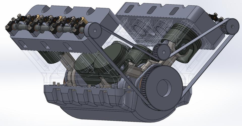 v6 engine 3d cad model library grabcad