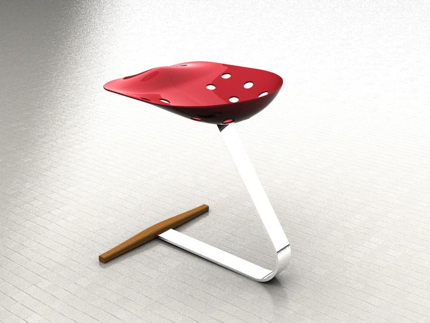 Sgabello mezzadro by castiglioni d cad model library grabcad