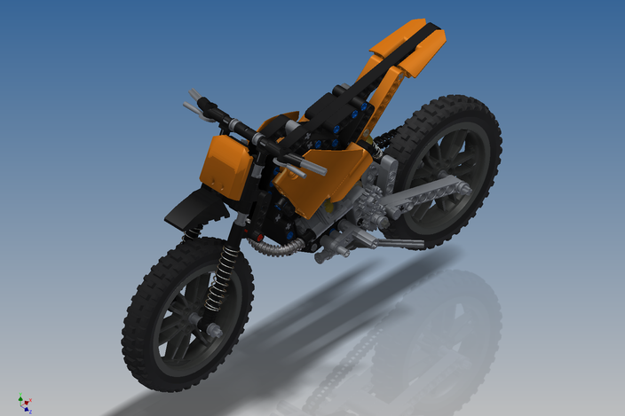 lego technic moto cross bike 42007 autodesk inventor. Black Bedroom Furniture Sets. Home Design Ideas
