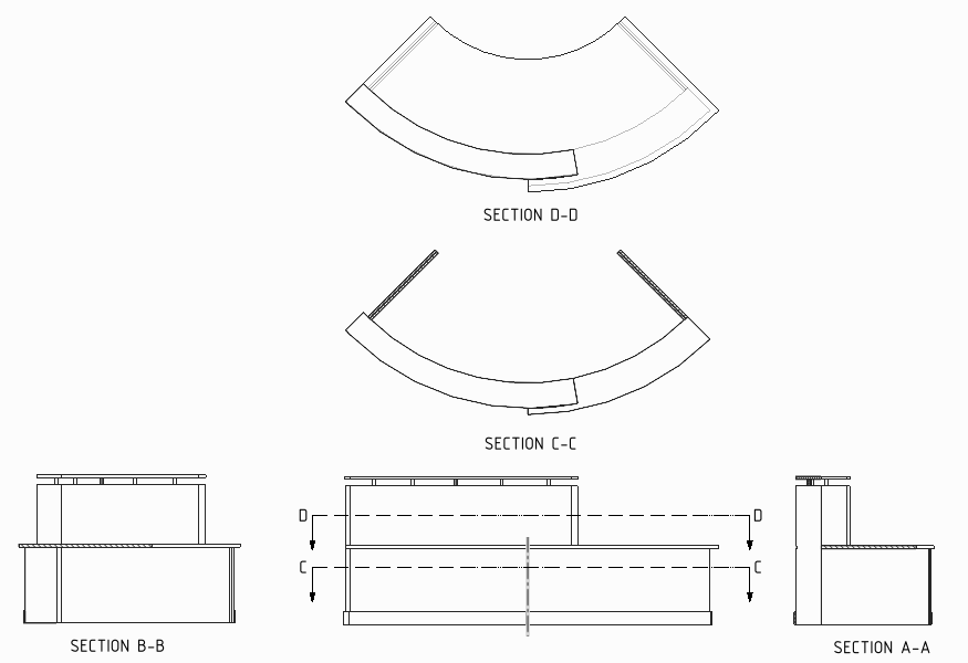 Reception Desk Detail Cad Drawing Curved Reception Desk Stl