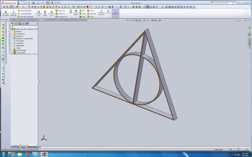 Deathly Hallows Symbol 3d Cad Model Library Grabcad