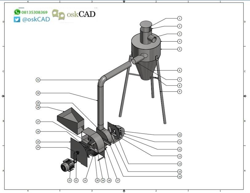Hammer Mill Rotary Roaster 3d Cad Model Library Grabcad