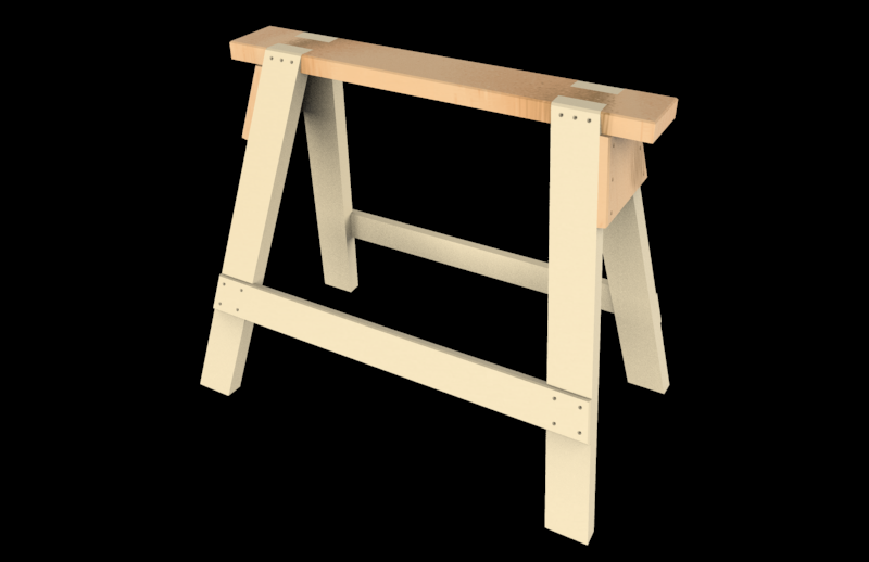 Saw Horse Wooden Sawhorse 3d Cad Model Library Grabcad