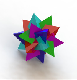 Five tetrhedrons in a Dodecahedron
