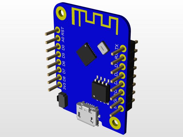 WEMOS D1 MINI V3 0 0   3D CAD Model Library   GrabCAD