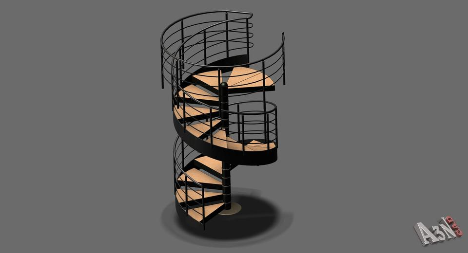 Scala a chiocciola 3d cad model library grabcad for Scala chiocciola dwg