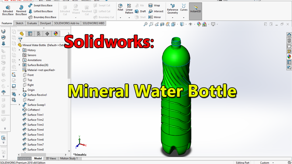 Mineral Water Bottle | 3D CAD Model Library | GrabCAD