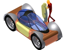 Electric on and off road 2 seater, 4X4 car, printable with 3D REP RAP printes partially.
