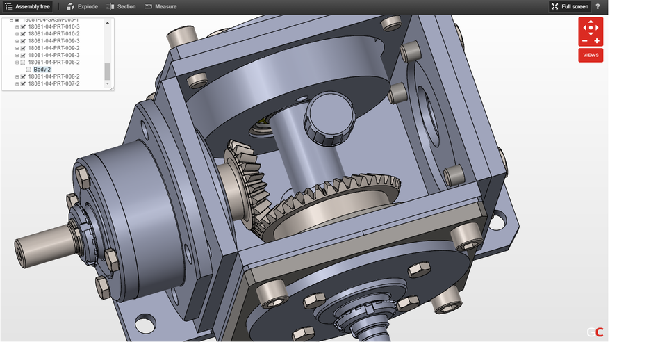 Bevel gearbox | 3D CAD Model Library | GrabCAD