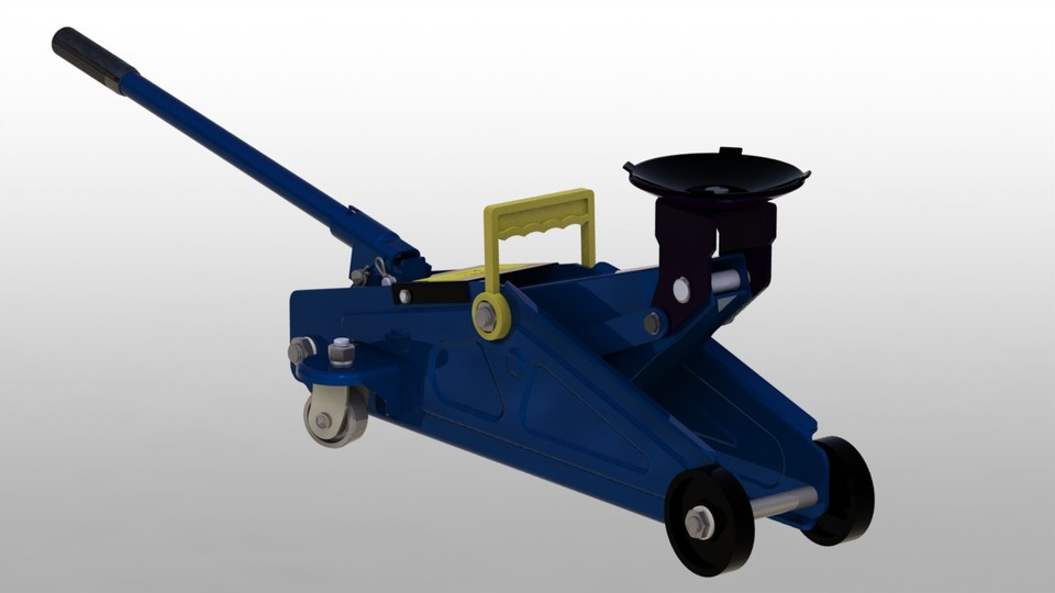Hydraulic Floor Jack   STEP / IGES,STL,SOLIDWORKS   3D CAD Model   GrabCAD