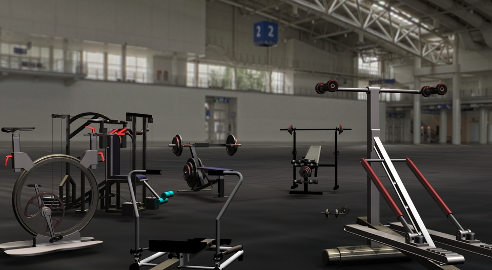 Fitness in the gymroom 3d cad model library grabcad