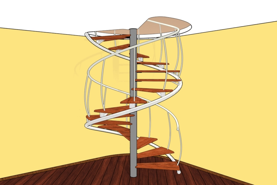 Spiral wooden staircase 3d cad model grabcad Spiral stair cad