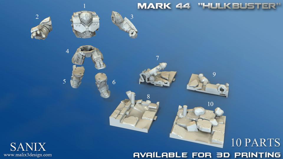Avengers Scene-Ironman Hulkbuster 3d Printable model   3D CAD