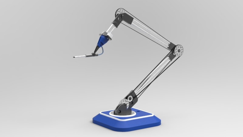 Simple Robotic Arm Airbrush 3d Cad Model Library Grabcad