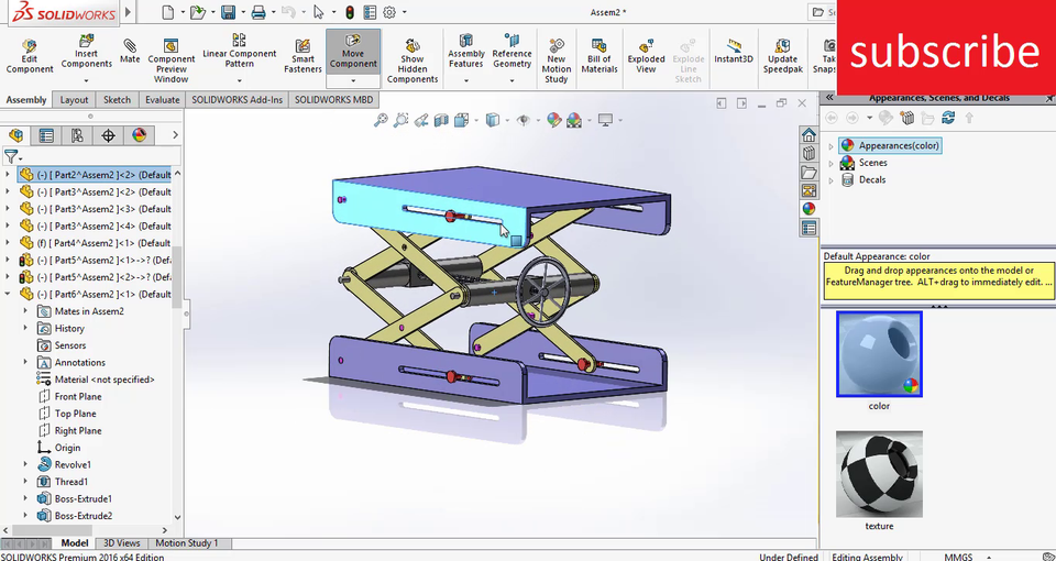 Scissor Screw Lift Mechanism In Solidworks 3d Cad Model Library Grabcad