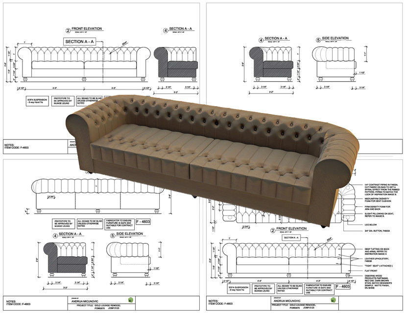 Chesterfield Sofa 3D CAD model GrabCAD