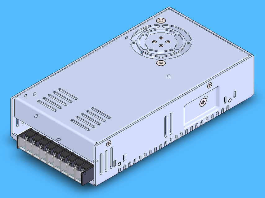 Mean Well QP-320D Quad Power Supply | 3D CAD Model Library | GrabCAD