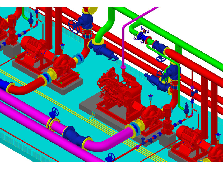 Fire fighting pump station | 3D CAD Model Library | GrabCAD