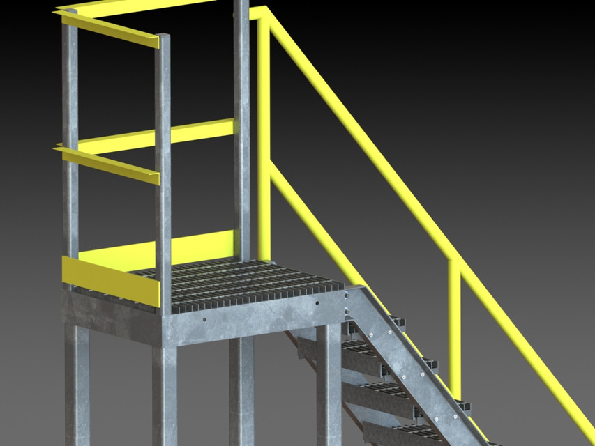 Industrial Stairs | 3D CAD Model Library | GrabCAD