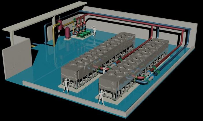Cuarto de maquinas de aire acondicionado autocad 3d for Maquinas de aire acondicionado baratas