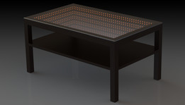 Coffee table with illusion of infinity
