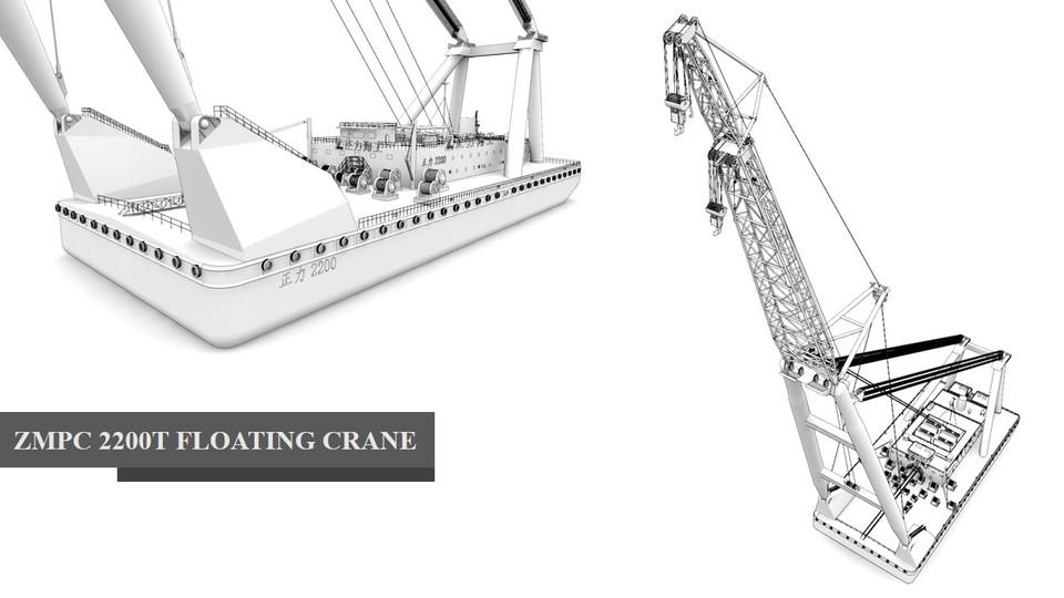 2200t floating crane | 3D CAD Model Library | GrabCAD