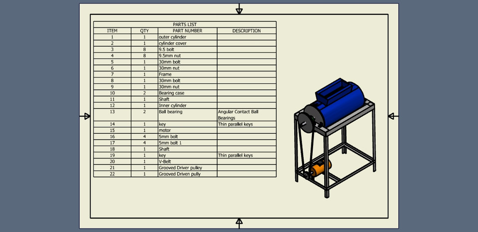 Cassava Peeling Machine | 3D CAD Model Library | GrabCAD