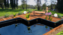 Garden pond with footbridge