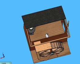 Waterwheel with pump house