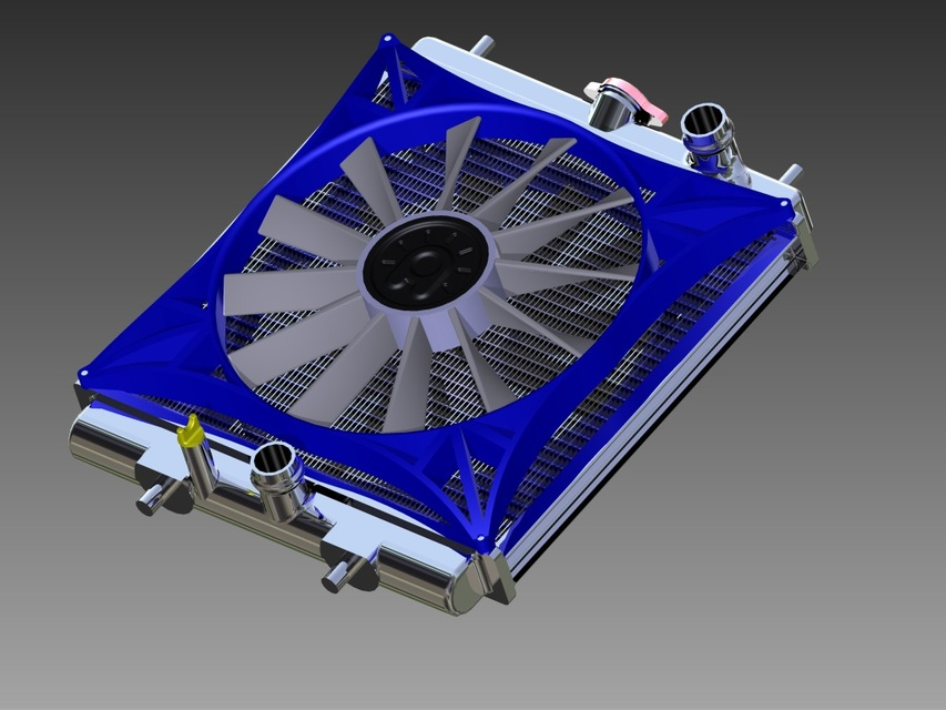 racing radiator and fan assembly