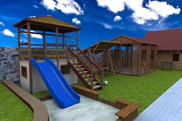 Playground with swings and a summerhouse, Fence, Forged handrail,canopy