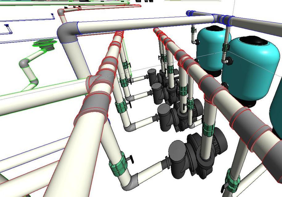 Swimming pool & pump station   3D CAD Model Library   GrabCAD