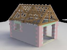 Maquette de garage - Maçonnerie avec Charpente échelle 1:10
