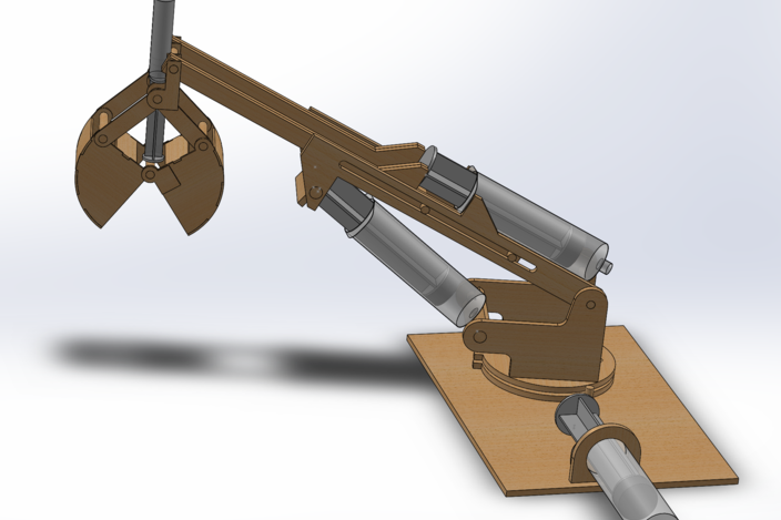 Simple Hydraulic Robotic Arm Designs : Toy hydraulic arm solidworks d cad model grabcad