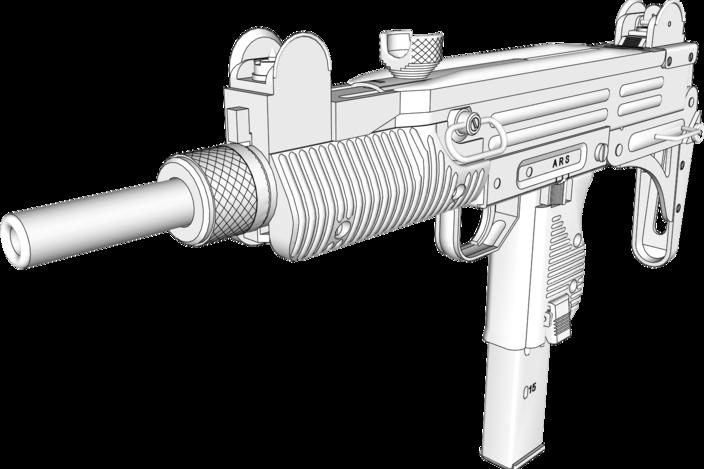 Gun Engineering Drawings Uzi Submachine Gun 9mm
