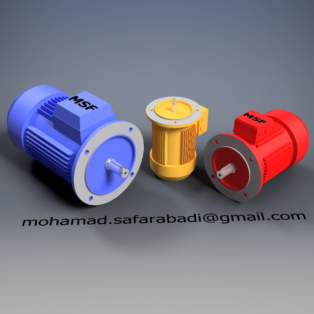 Parametric AC Motor (B5 Frame) (Size 56-200) | 3D CAD Model Library